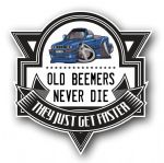 Koolart OLD BEEMERS NEVER DIE Motif For Retro BMW E30 3 series Cabriolet External Vinyl Car Sticker Decal Badge 100x100mm